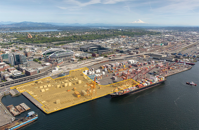 Aerial photo of the Port on a sunny day with a highlighted section showing the proposed area for the new cruise terminal.